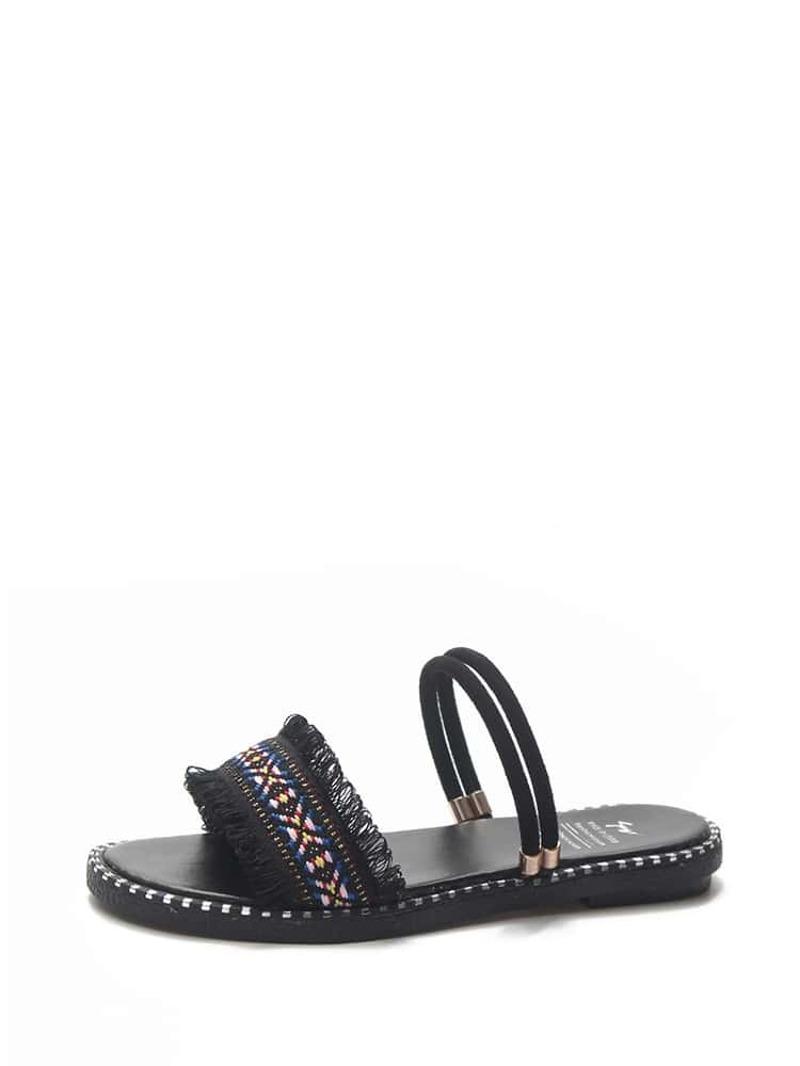 Raw Trim Open Toe Sandals, Black