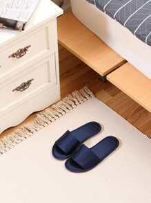 Satin Open Toe Flat Slippers