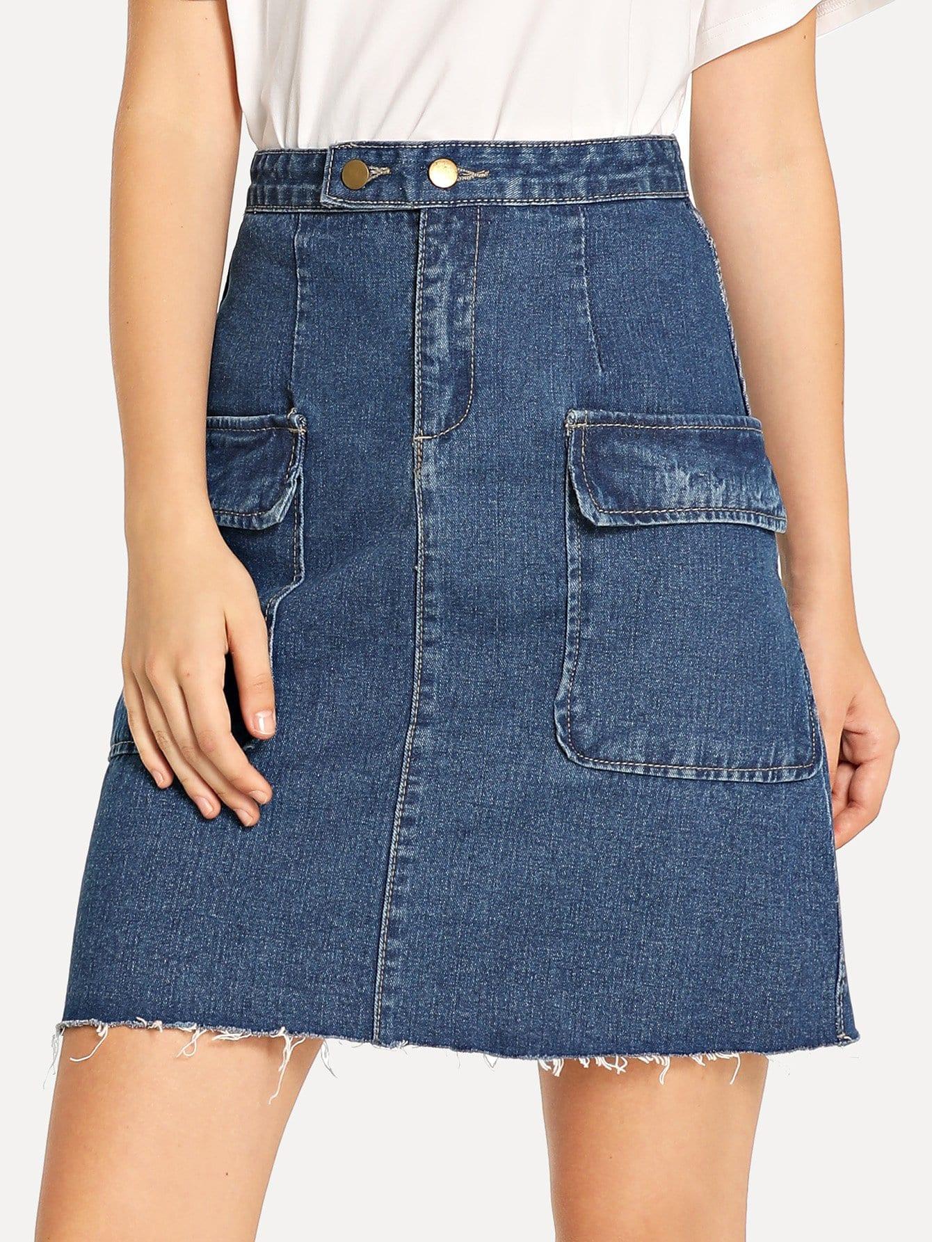 Купить Джинсовая юбка с карманами и сырой подол, Teresa, SheIn