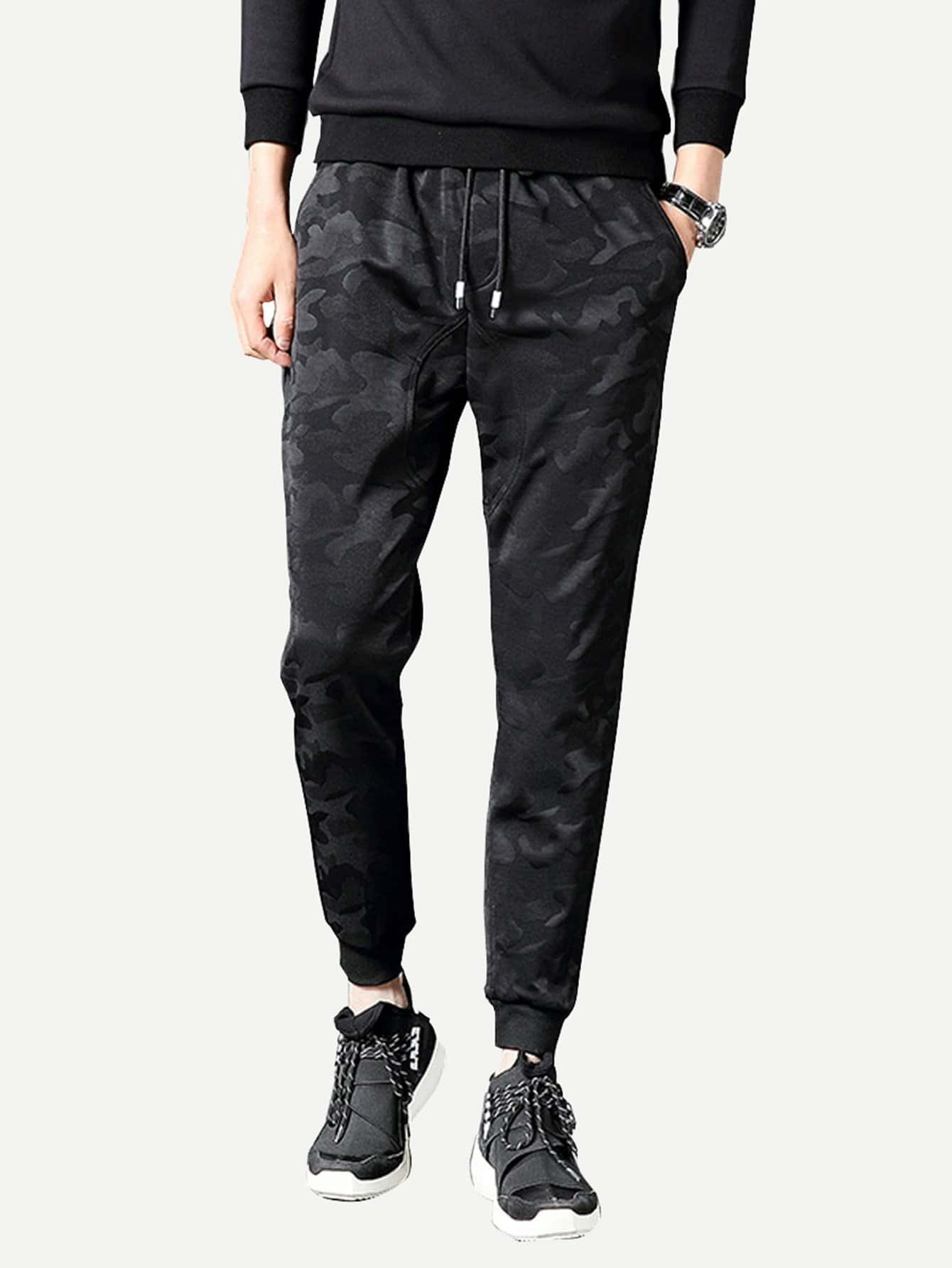 Men Camo Drawstring Pants idopy men s street style denim pants camouflage camo joggers stretchy drawstring biker cargo pants for hipster