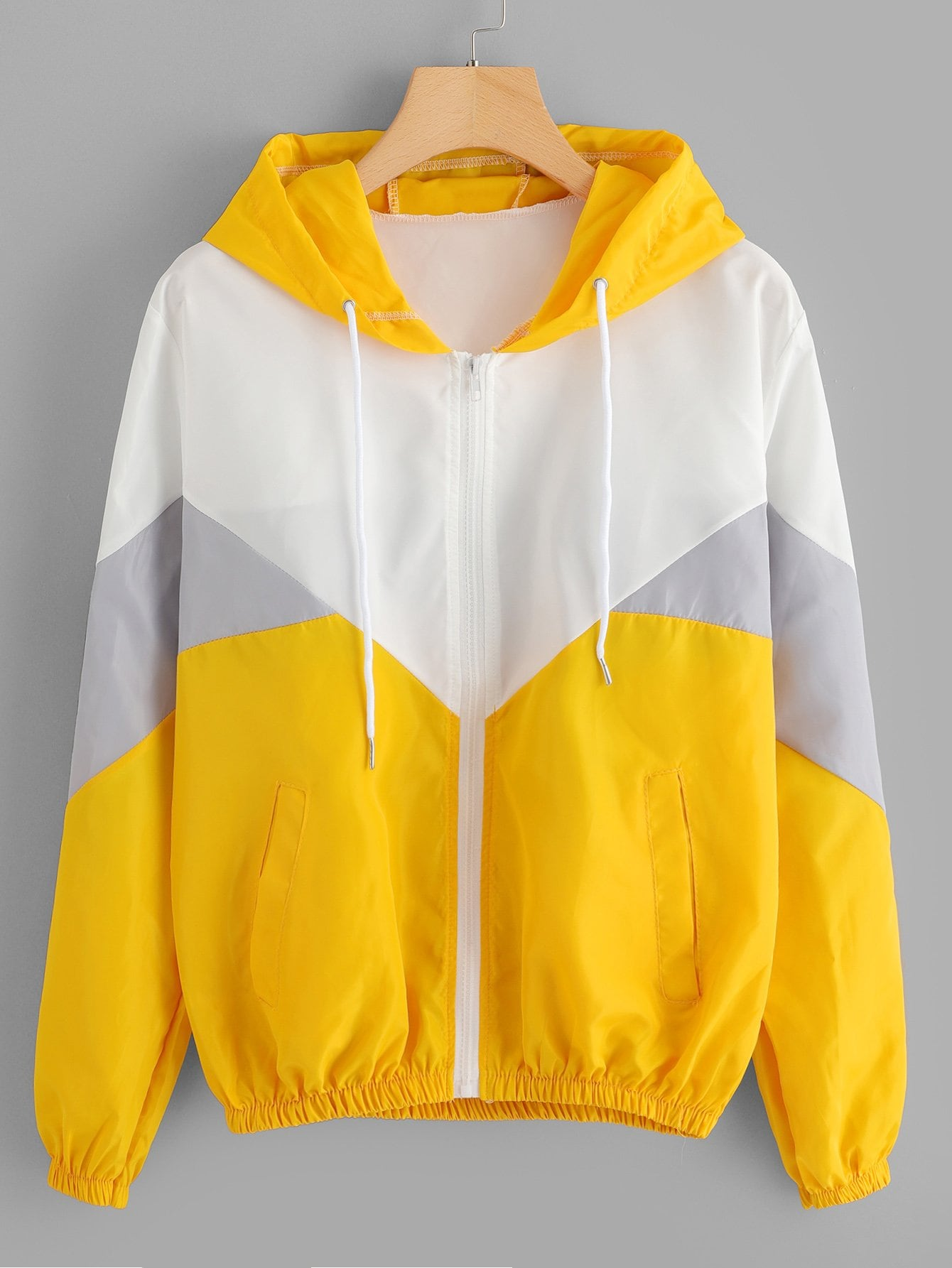 Cut And Sew Drawstring Hooded Jacket
