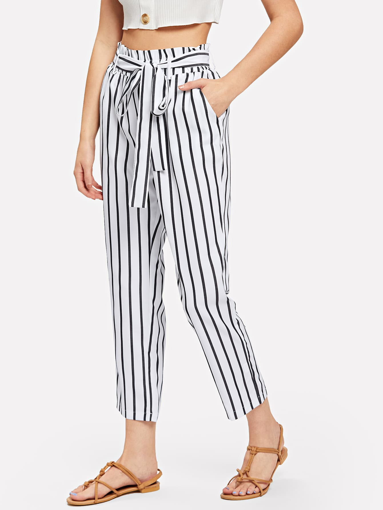 Tie Waist Frill Trim Striped Pants