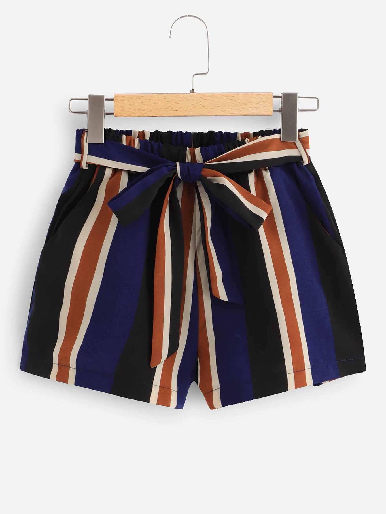 Self Tie Waist Striped Shorts