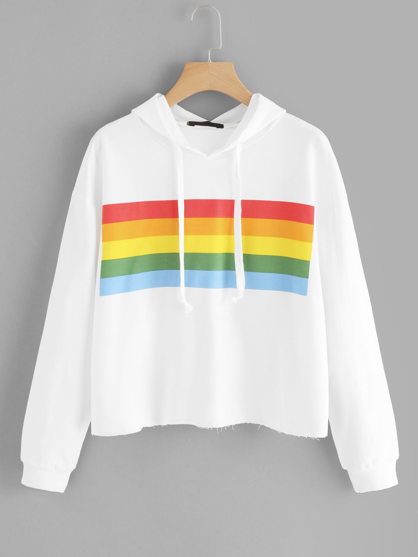 Colorful Striped Panel Hoodie