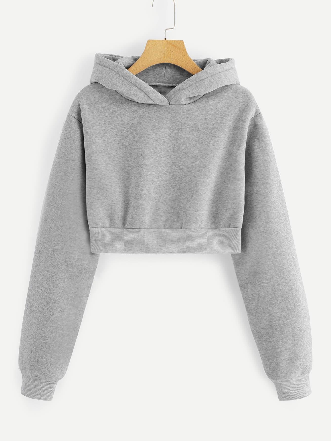 Купить Повседневный Ровный цвет Пуловеры Серый Свитшоты, null, SheIn