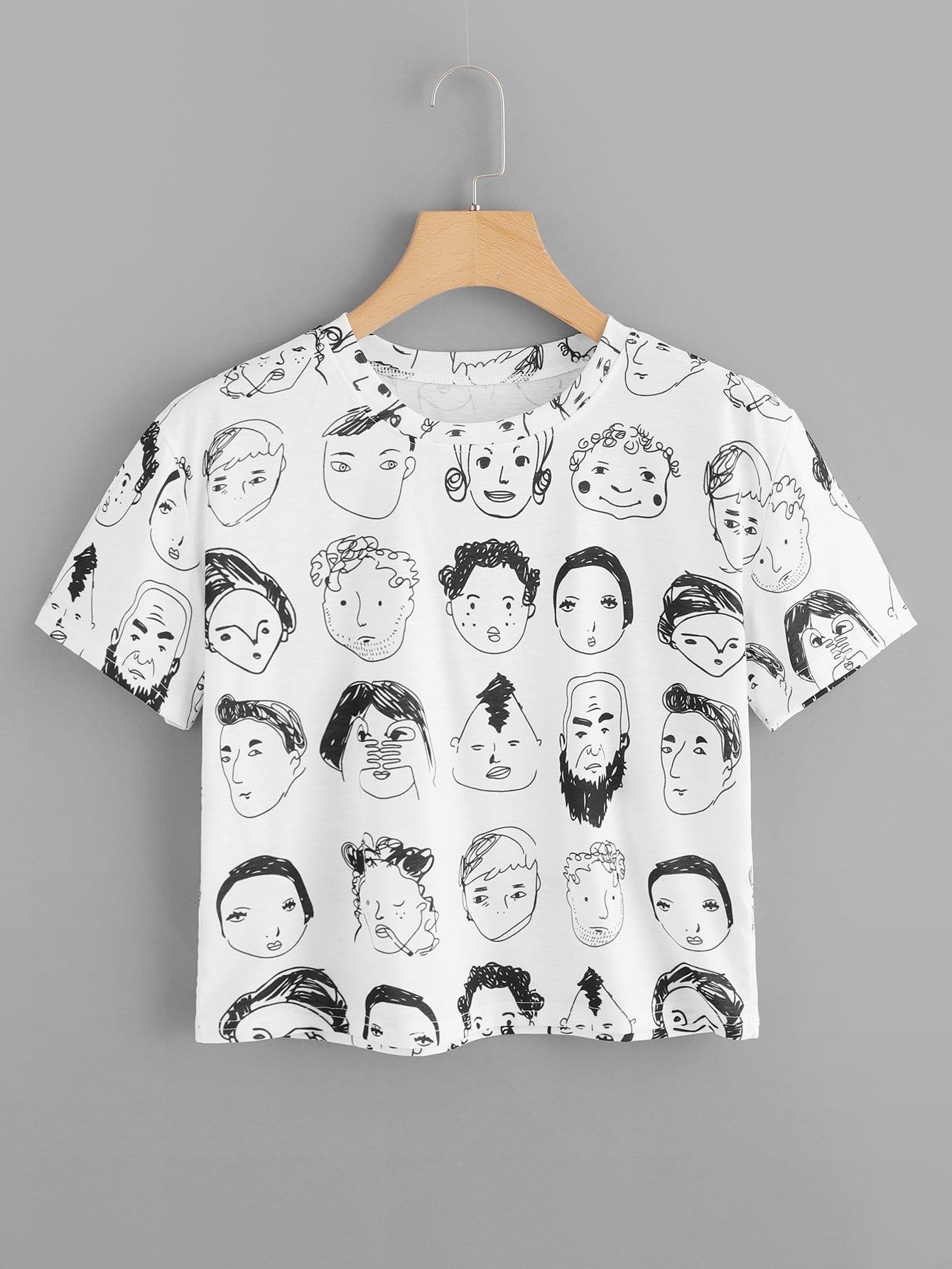 Crop T-Shirt mit Abbildungmuster