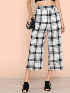 Wide Leg Plaid Cropped Pants