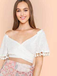 Wrap Front Crop Top