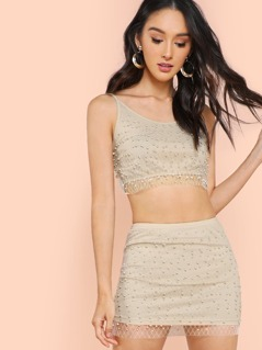 Pearl Embellished Tank And Skirt Set