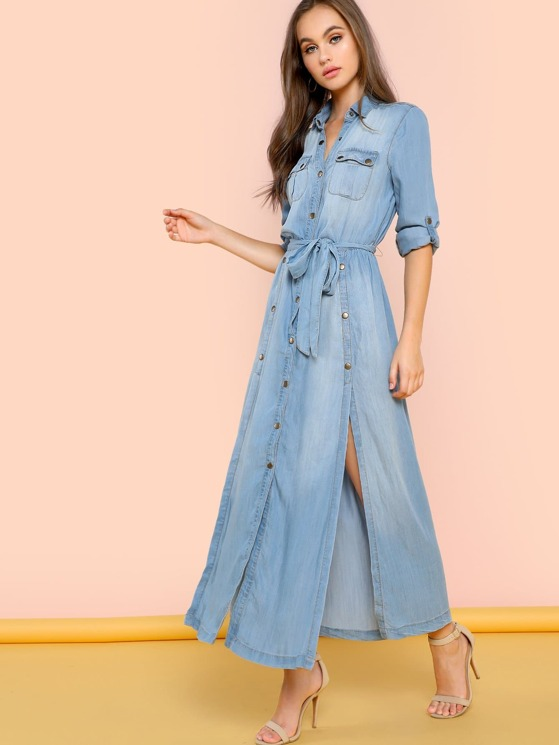 5ded0443bfa Denim Button Front Maxi Dress With Side Slits
