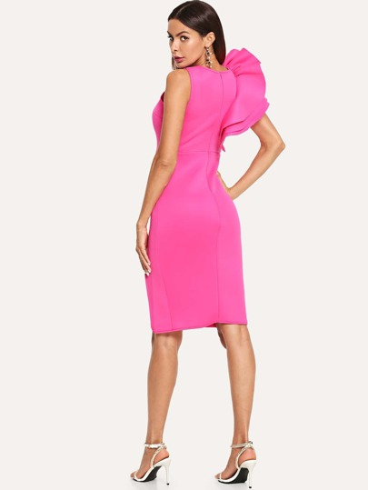 Romwe / Ruffle Trim Sleeve Dress