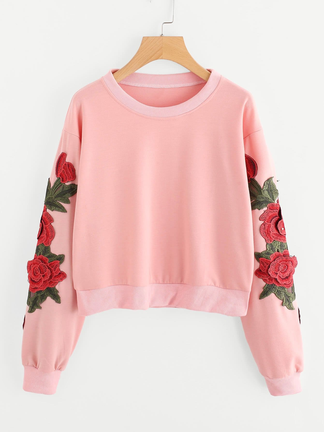 3D Embroidered Applique Crop Sweatshirt