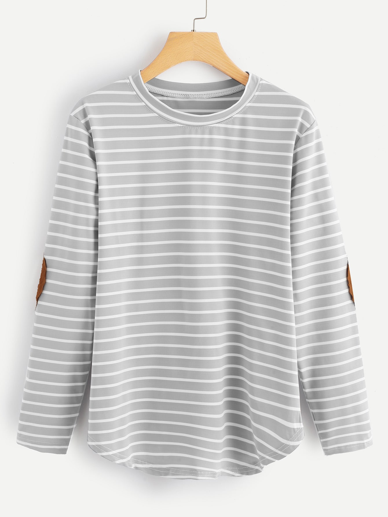 Elbow Patch Striped T-shirt striped elbow patch curved hem t shirt