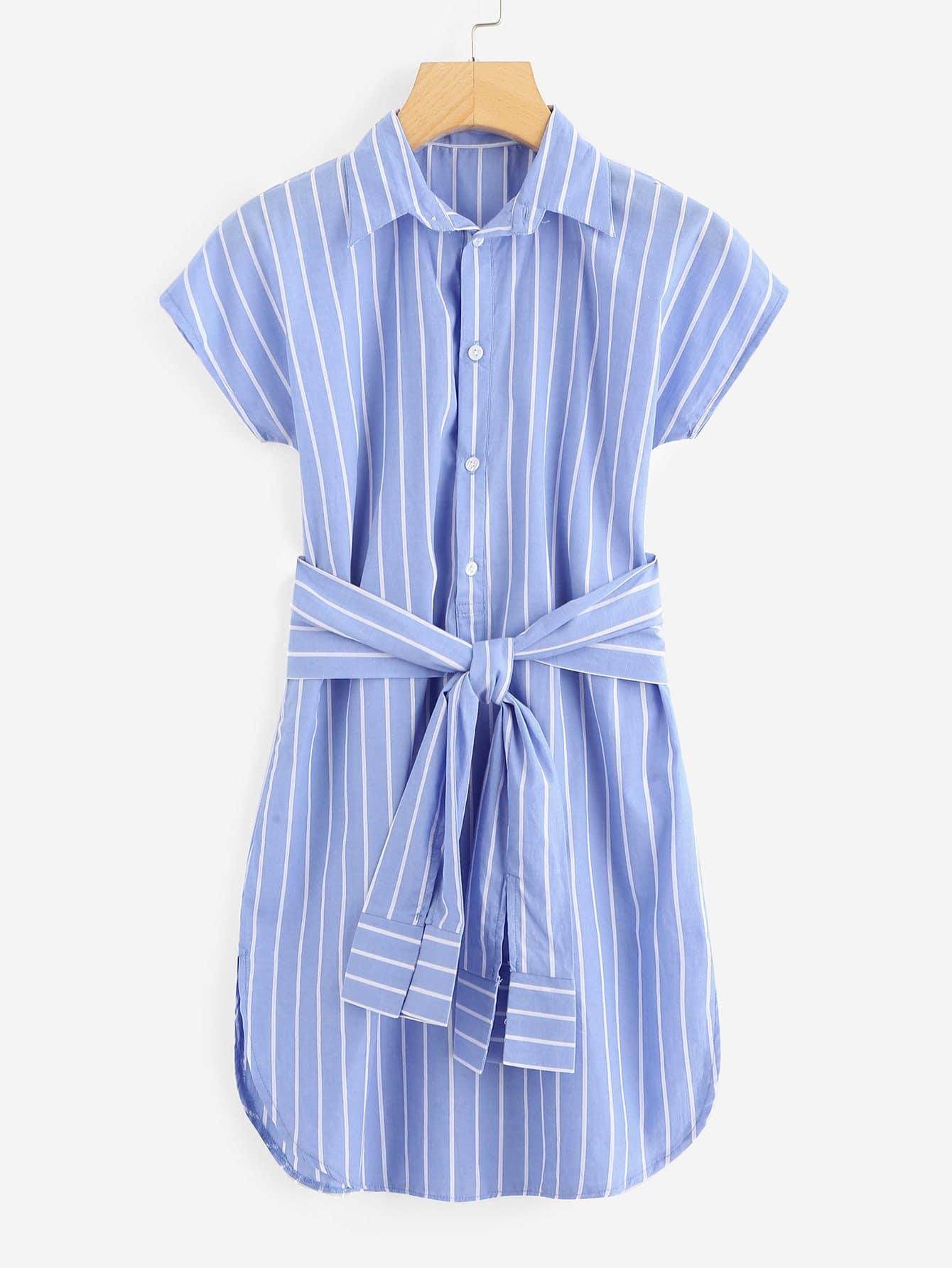 Купить Полосатое однобортное платье и с поясом, null, SheIn