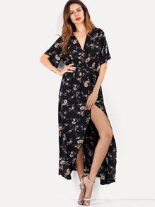 Self Tie Waist Floral Print Dress
