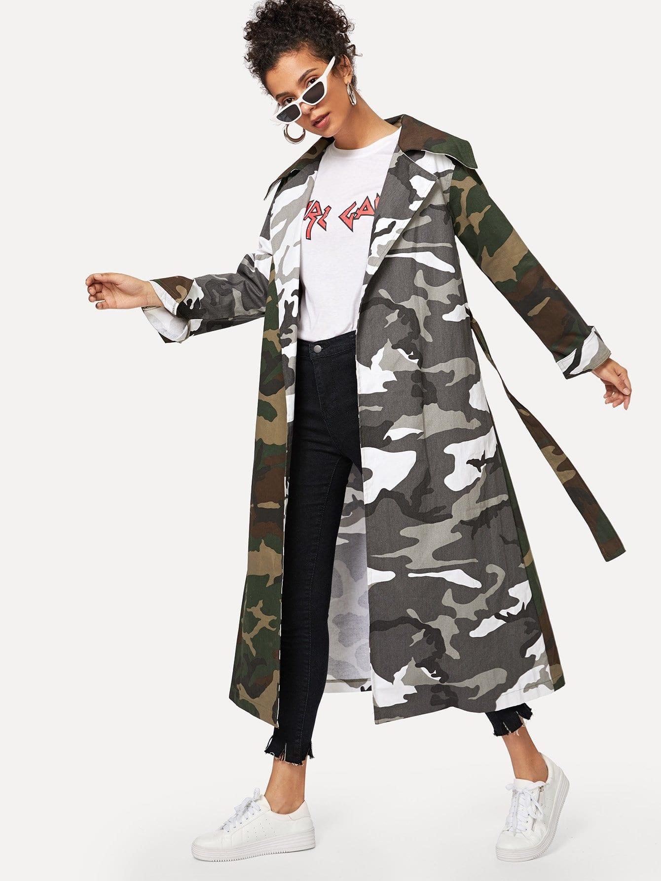Camouflage Print Self Tie Coat