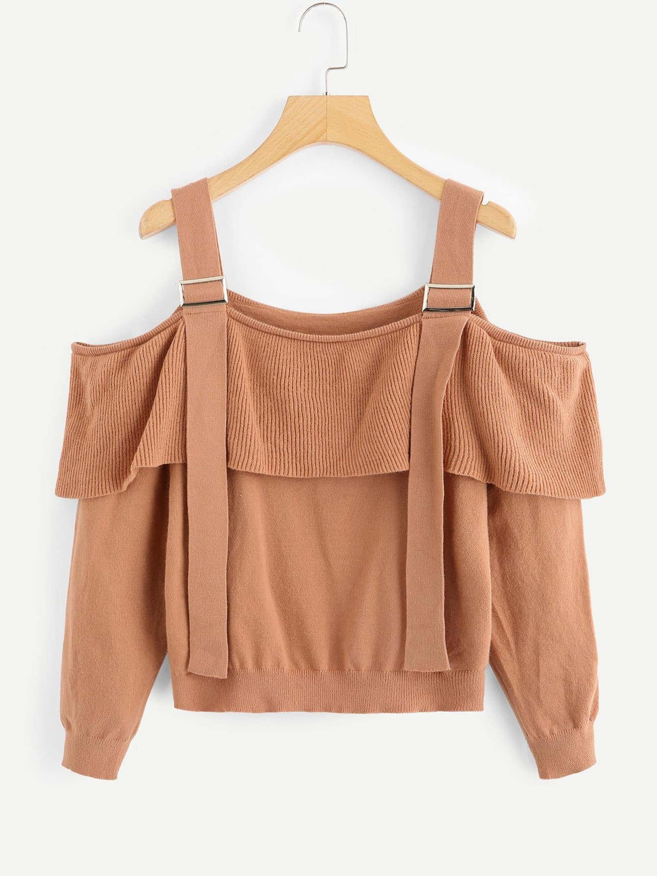 Ruffle Trim Solid Straps Sweater