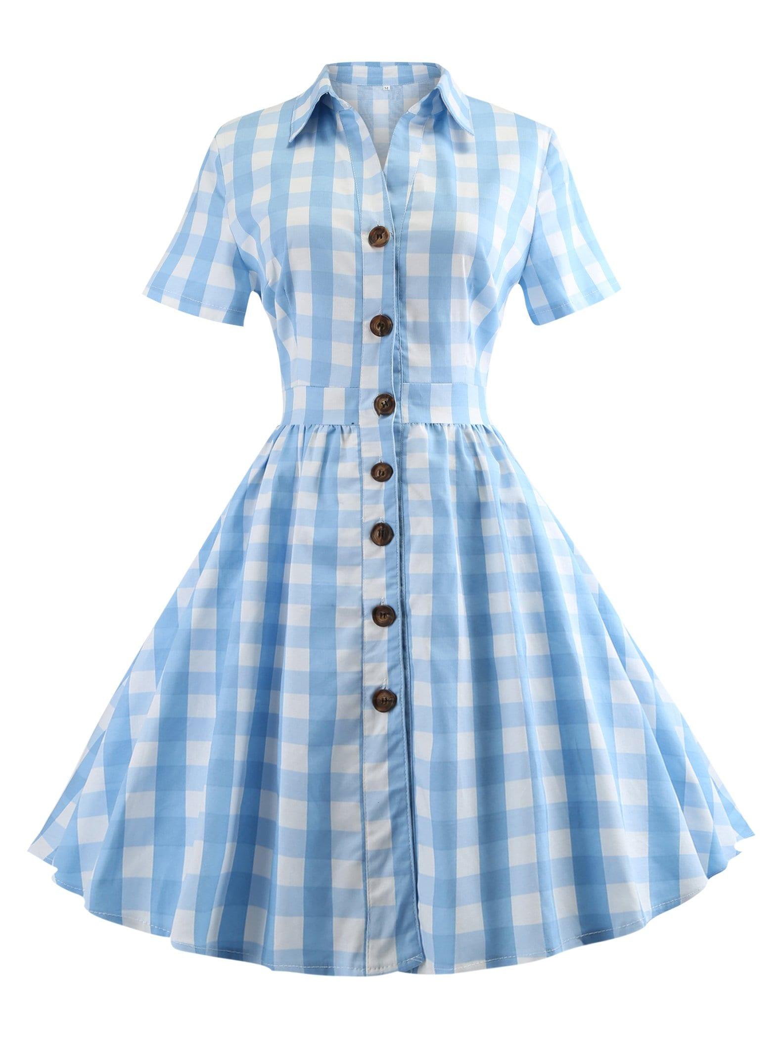 Купить Платье в клетку и с украшением пуговицы и с воротником, null, SheIn