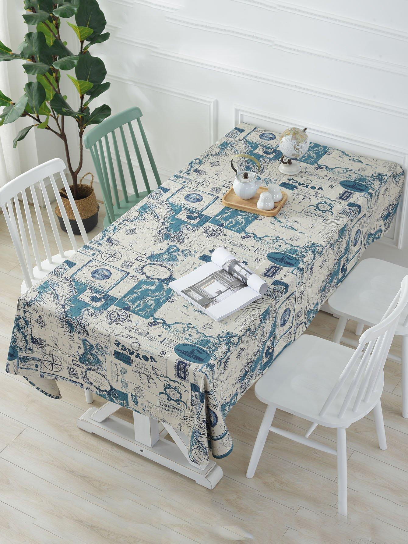 Map Print Table Cloth