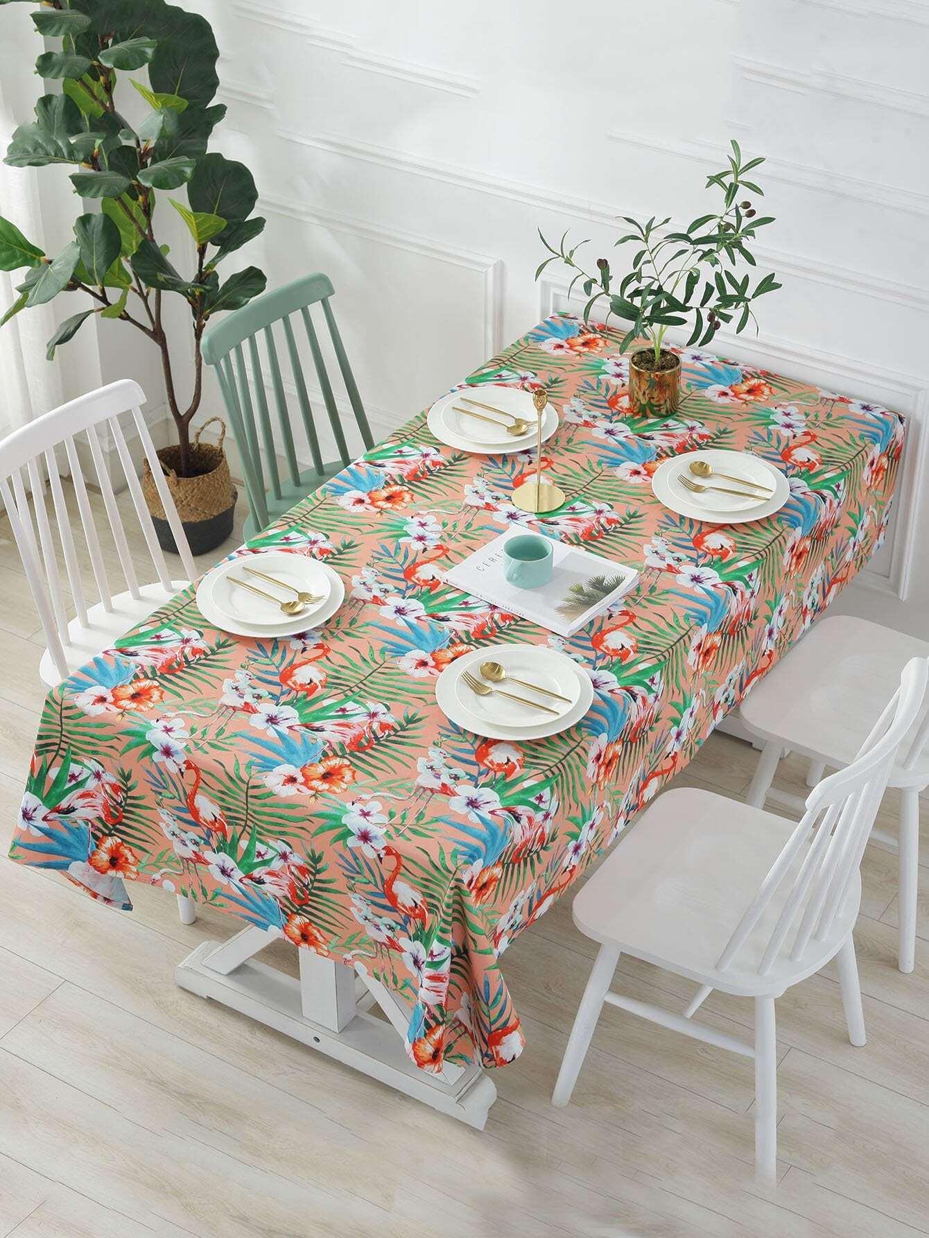 Flamingo Print Table Cloth