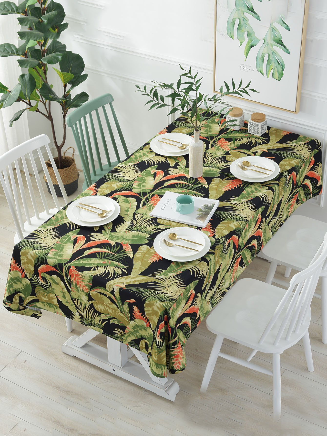 Tropical Leaf Print Table Cloth
