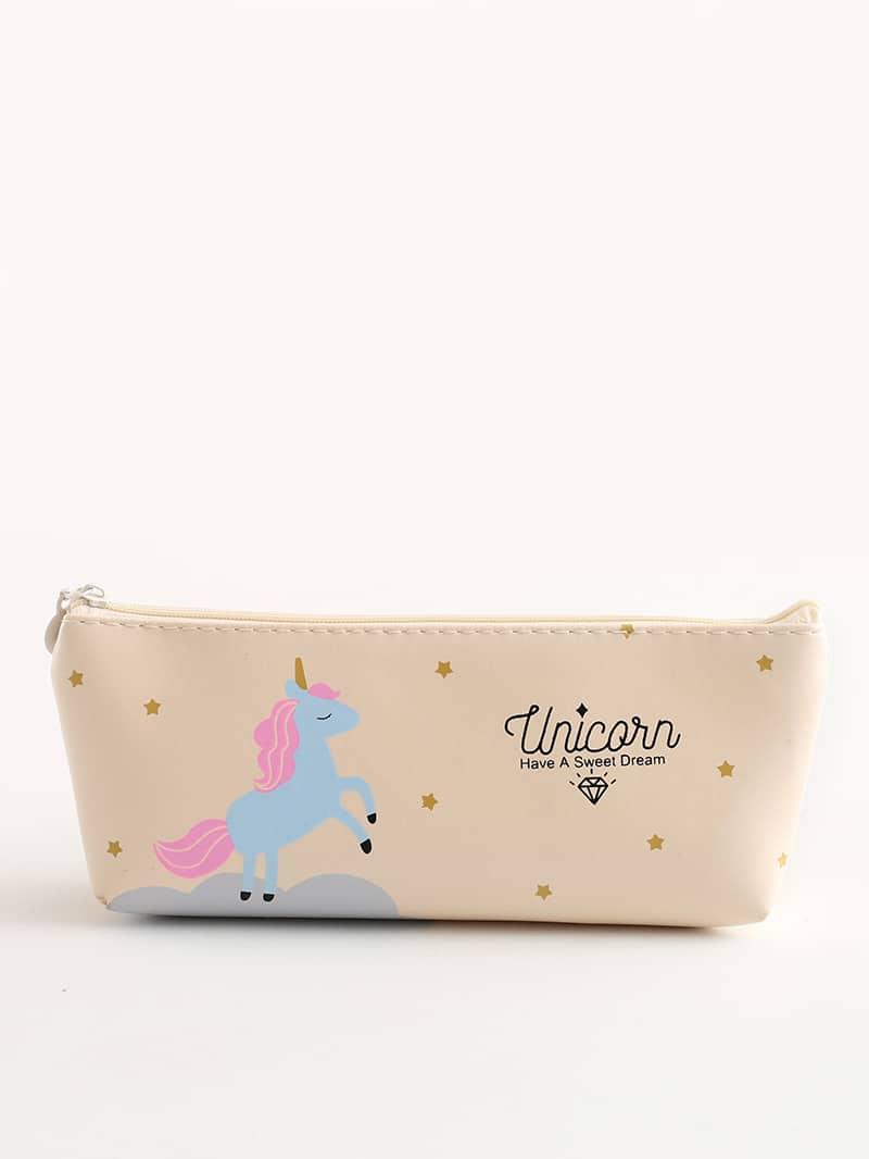 Unicorn Print PU Pencil Case