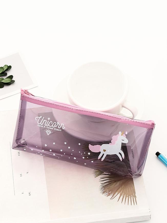 Unicorn Print Clear Pencil Case