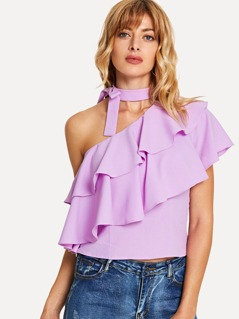 Bow Embellished Halter Neck Layered Flounce Top