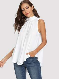 Mock Neck Pleated Front High Low Top