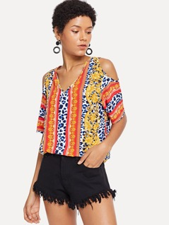 Tribal Print Tie Neck Cold Shoulder Top