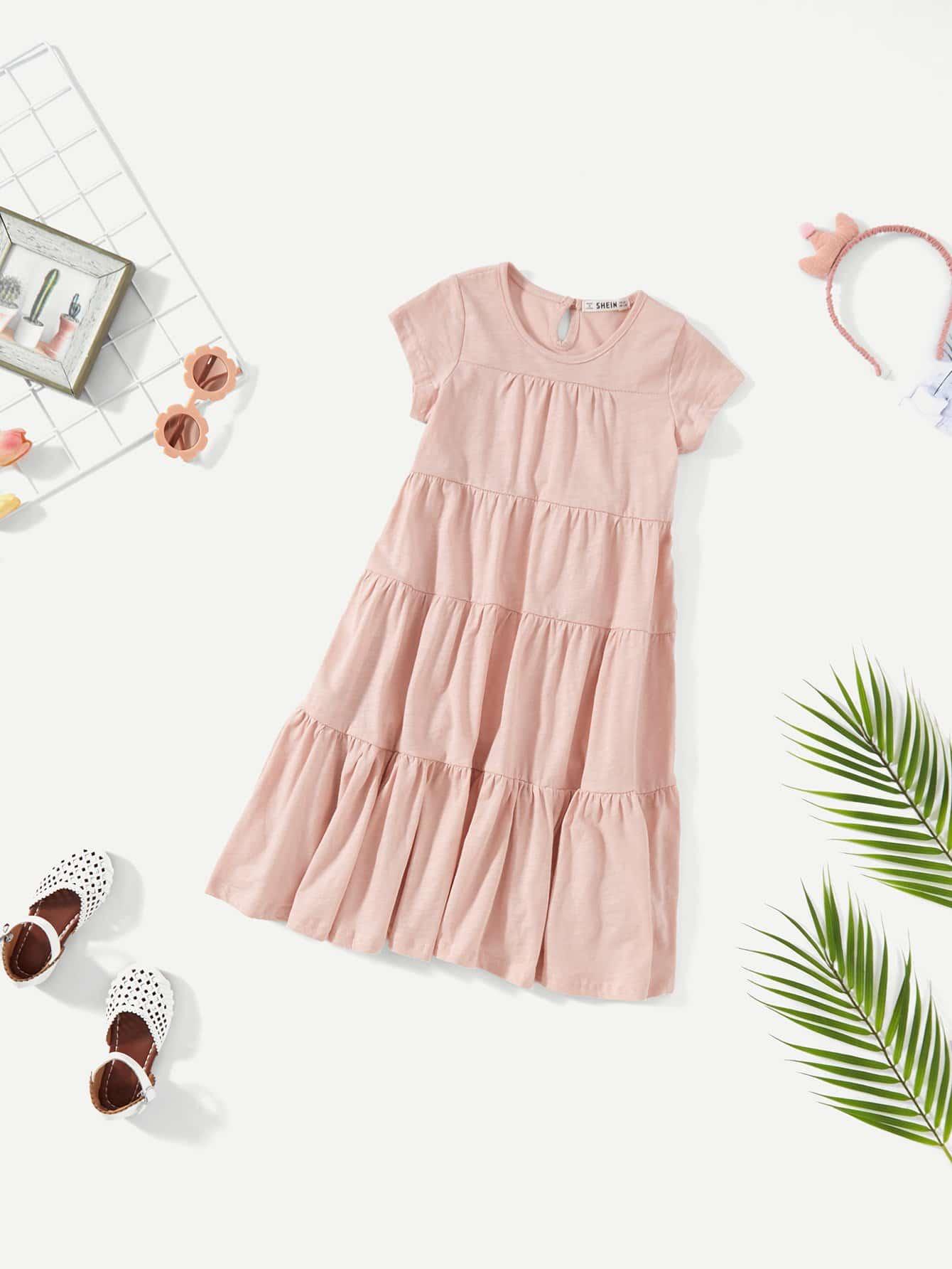 цена на Girls Short Sleeve Tiered Ruffle Dress