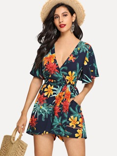 Deep V Neck Flower Print Romper