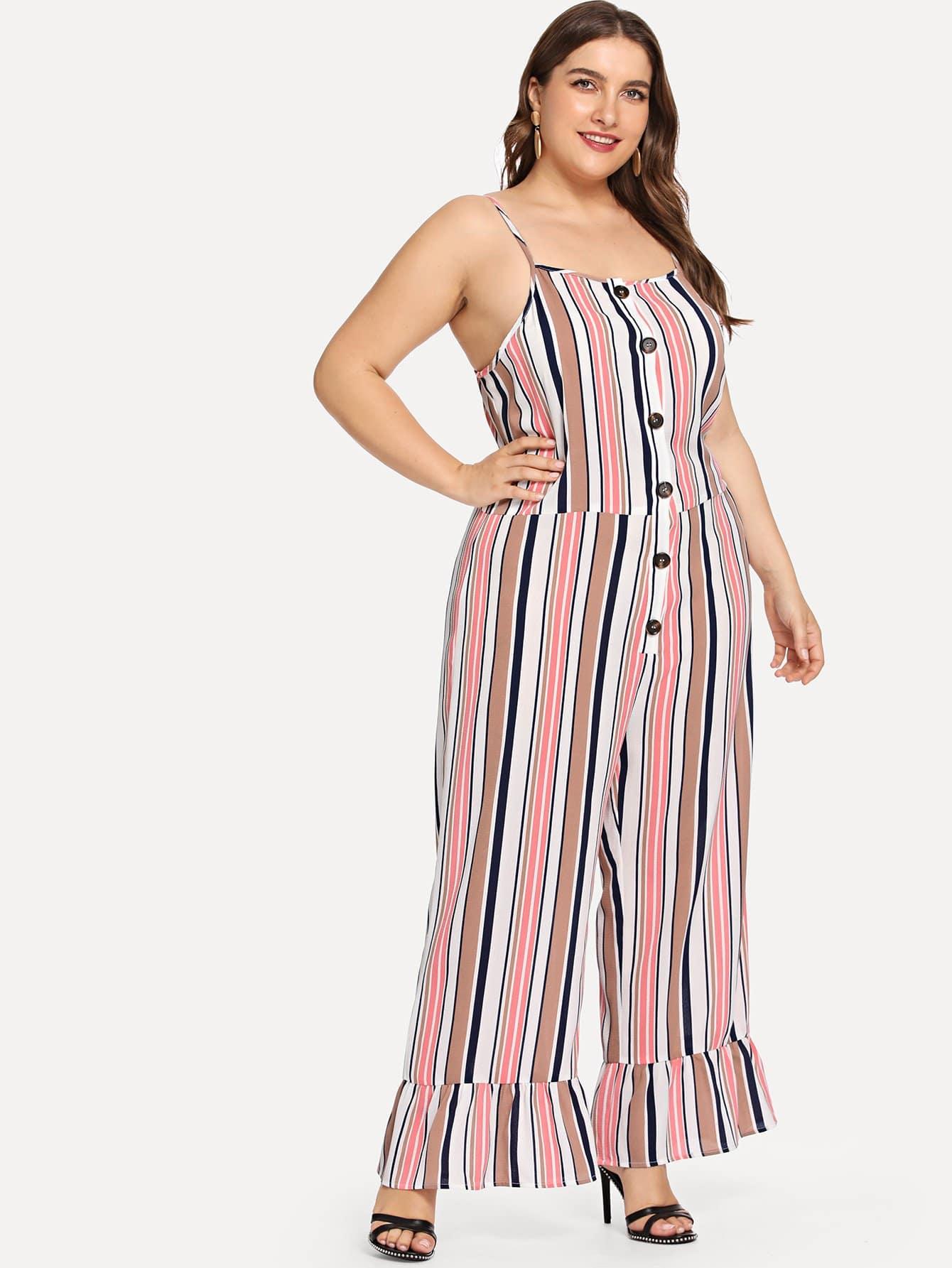 Купить Плюс Кнопка Фронт Ruffle Hem Striped Cami Jumpsuit, Franziska, SheIn