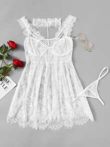 Plus Mesh Insert Floral Lace Dress With Thong