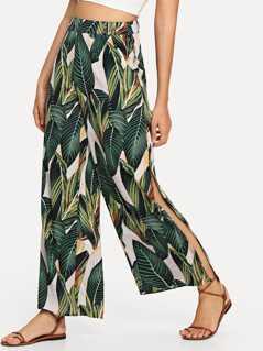 Wide Waistband Jungle Leaf Print Pants