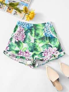 Frill Hem Flower Print Shorts