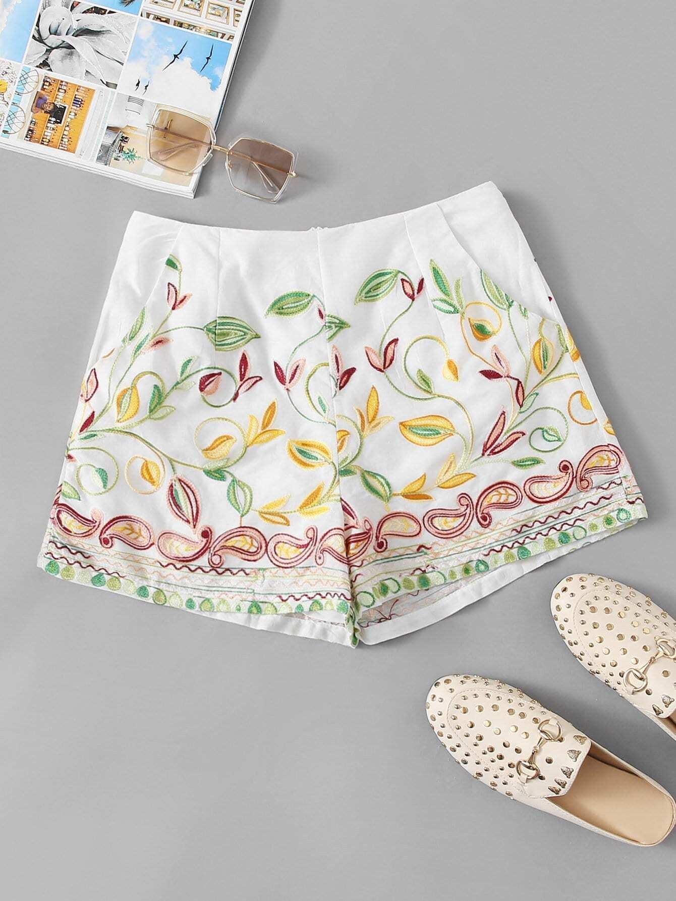 Купить Шорты с вышивкой цветы, null, SheIn
