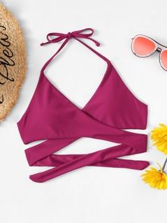 Criss Cross Wrap Halter Bikini Top