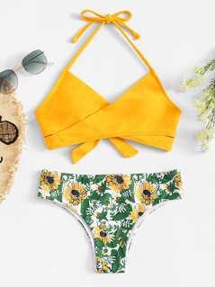 Wrap Tie Back Top With Palm Print Bikini