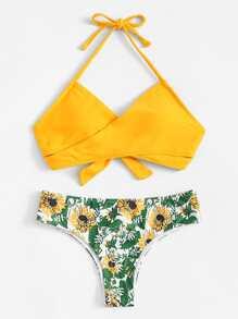 Palm Print Wrap Tie Back Bikini Set