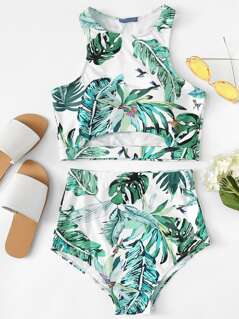 Palm Leaf Print Cut Out Tankini Set