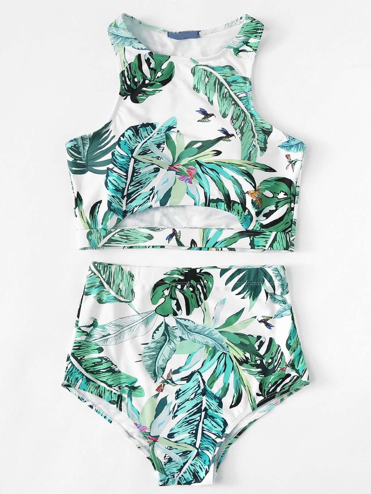 棕櫚樹 葉狀 圖片 鏤空 背心式比基尼泳装...