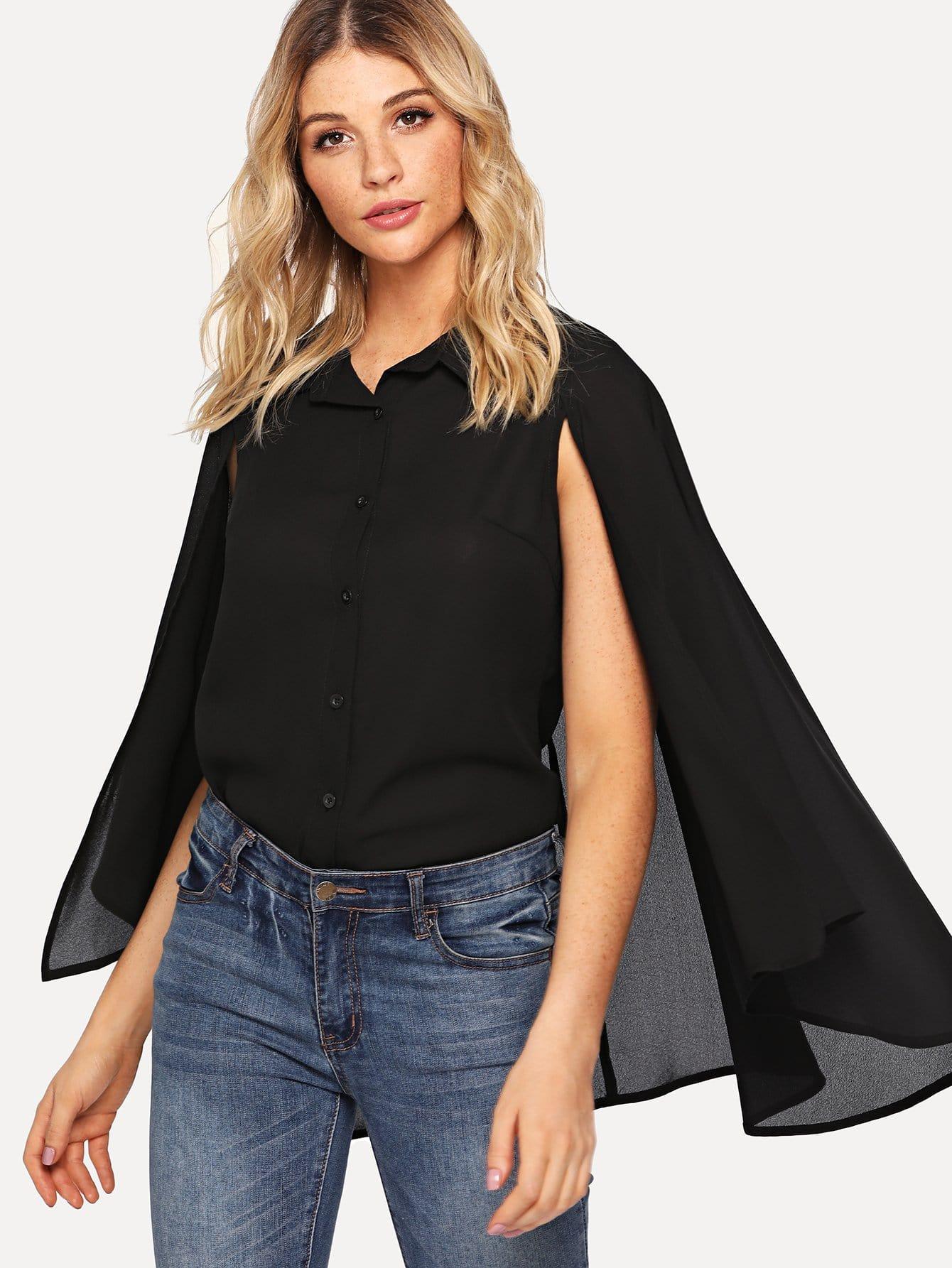 Купить Кнопка Up Cloak Sleeve Collar Вверх, Nathane, SheIn