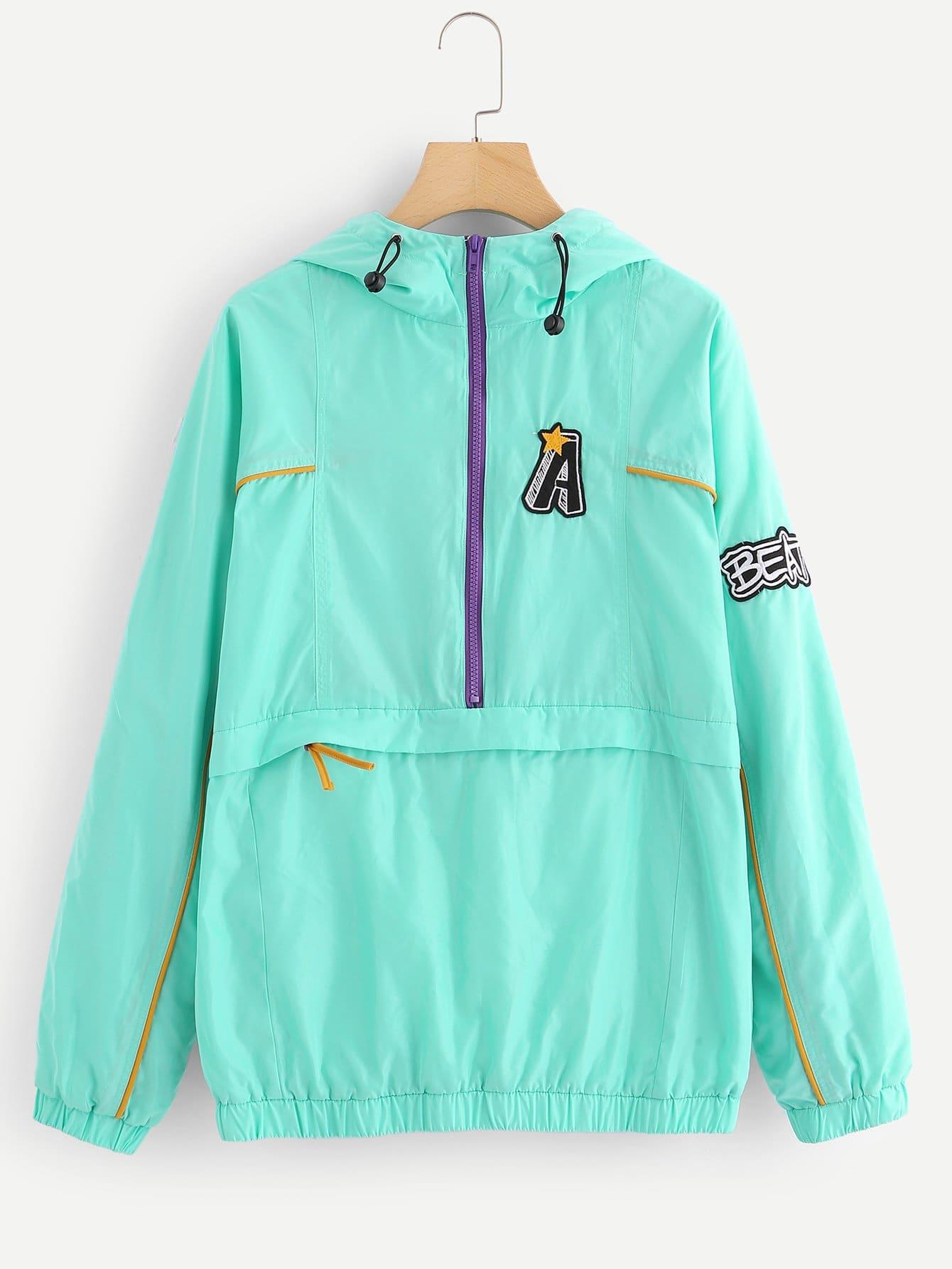 Мужское Письмо Патч Zip Front Hoodie Jacket