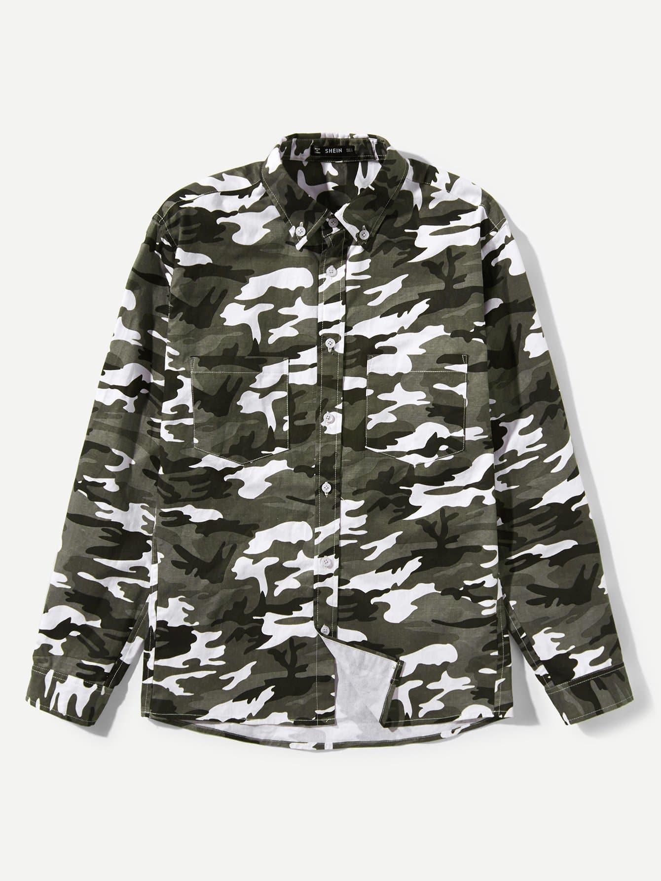 Купить Мужская камуфляжная карманная рубашка, null, SheIn