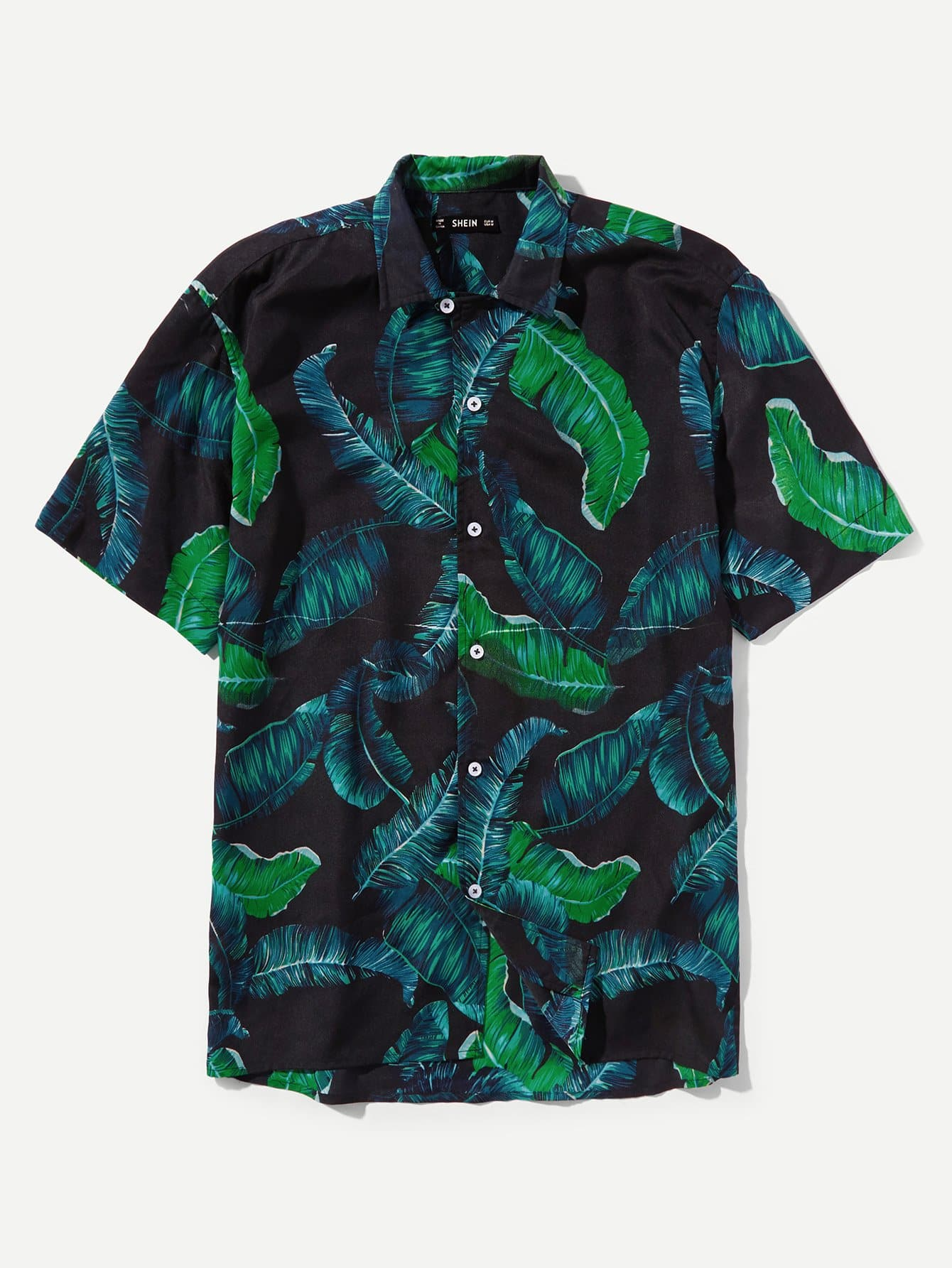 Men Jungle Leaf Print Shirt все цены