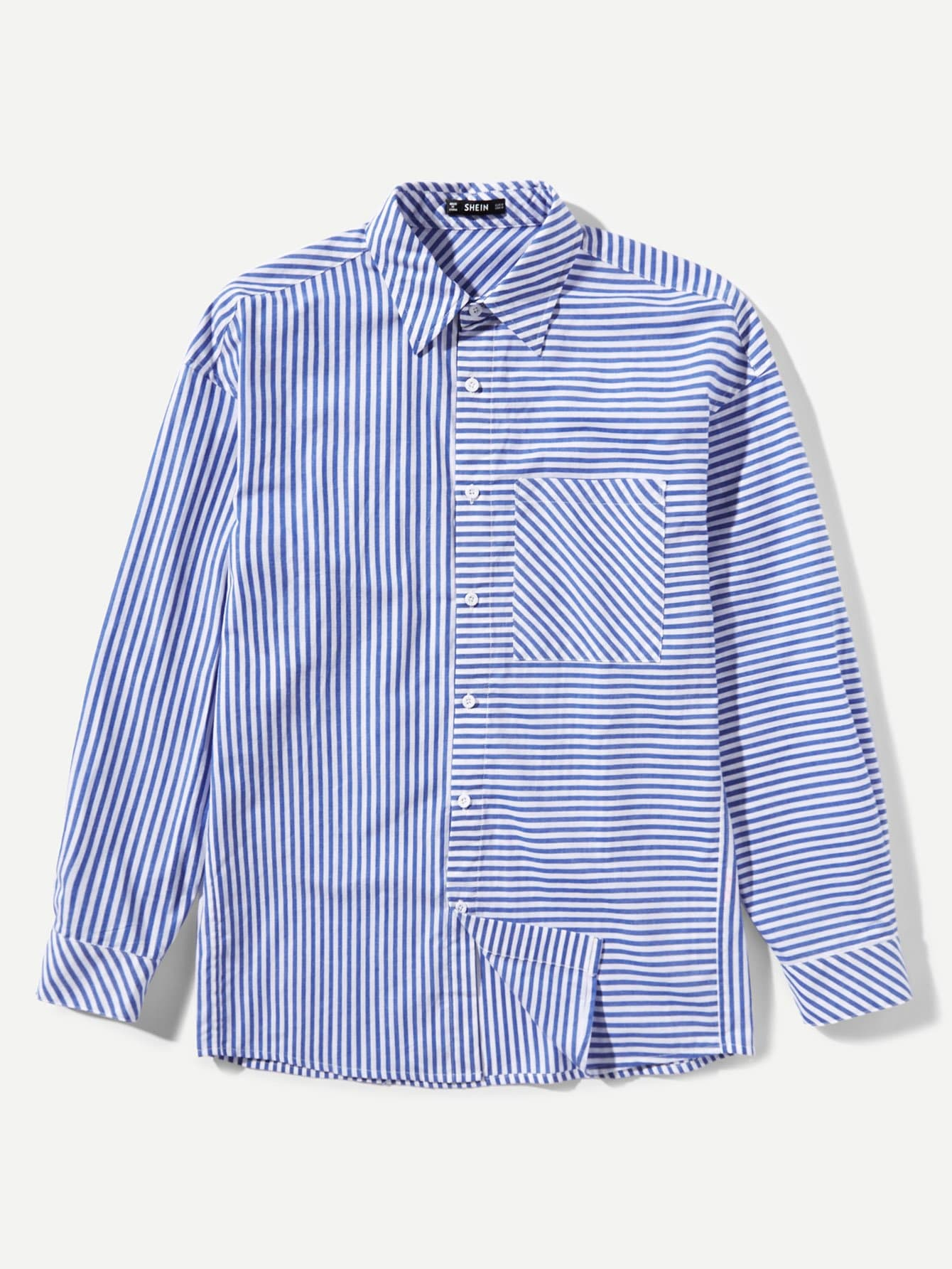 Купить Мужская полосатая карманная рубашка, null, SheIn