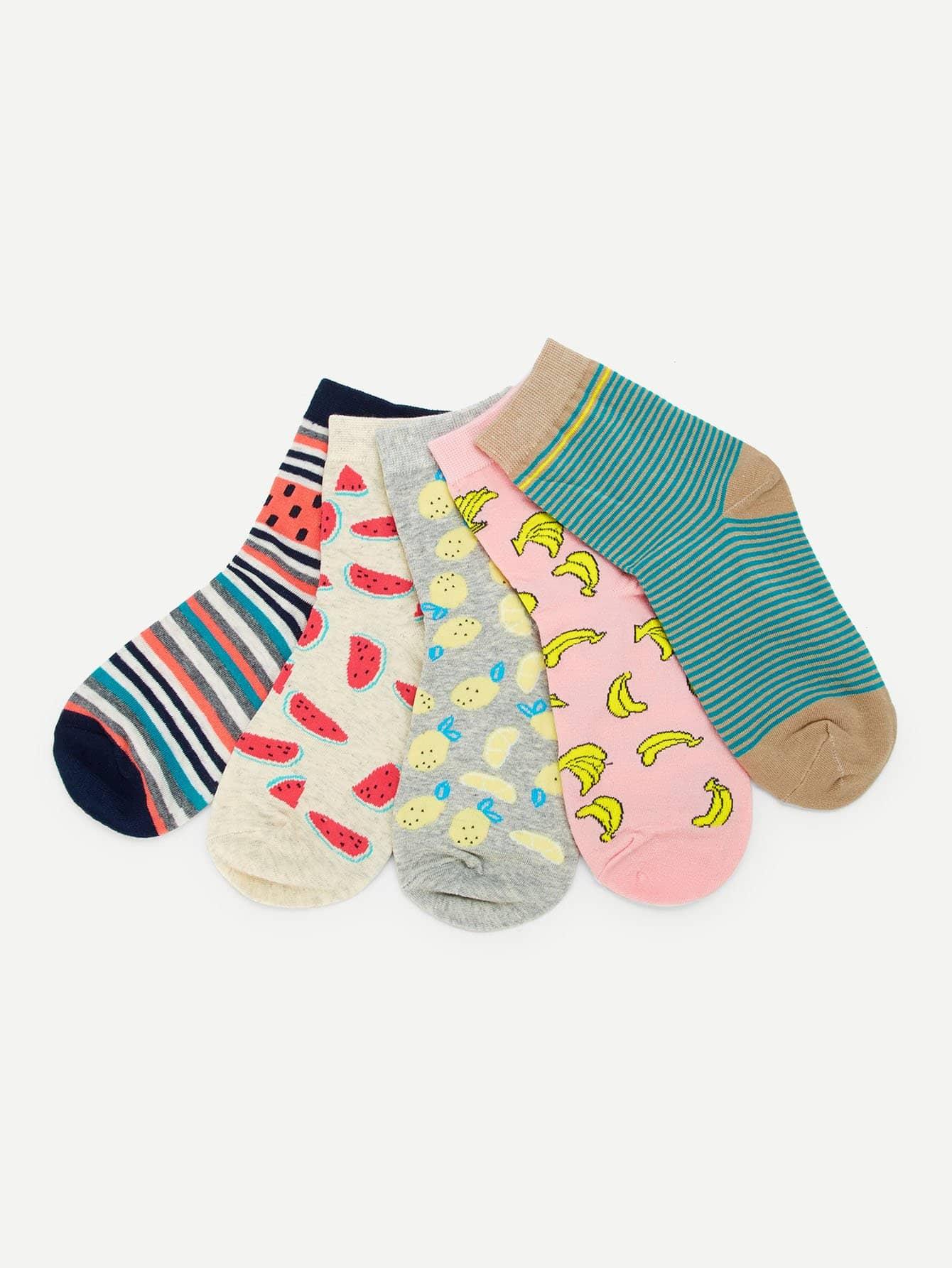 Fruit Print Ankle Socks 5pairs