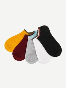 Glitter Hem Socks 5pairs