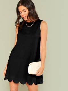 Scalloped Hem Solid Swing Dress